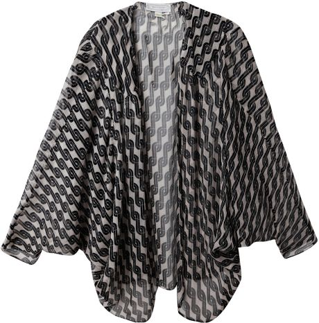 Beyond Vintage Printed Silk Cape in Black (beige) - Lyst