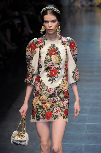 Dolce & Gabbana Fall 2012 White Mini Dress with 3/4 Length Dolman Sleeves in Floral Print - Lyst