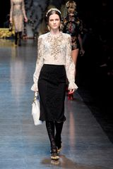 Dolce & Gabbana Fall 2012 Knee Length Pencil Skirt With Central Lace Panel In Black  - Lyst