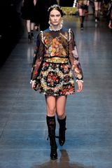 Dolce & Gabbana Fall 2012 HighWaisted ALine Heavily Embroidered Short Skirt with Golden Belt in Multicolor - Lyst