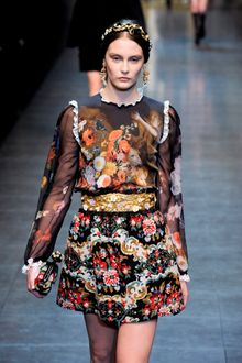 Dolce & Gabbana Fall 2012 Cherubic Mural Printed Blouse with See-Through Black Sleeves in Floral Motifs - Lyst