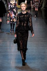 Dolce & Gabbana Fall 2012 Mid-Length Laced Black Skirt  - Lyst