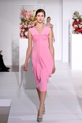 Jil Sander Fall 2012 Mid-Length Sleeveless Scupltured Pink Dress
