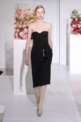 Jil Sander Fall 2012 Strapless Corset Knee Length Dress With Leather Insert Fold And Side Pocket In Black  - Lyst