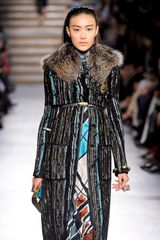Missoni Fall 2012 Fur Collar Mineral Print Coat  in Brown - Lyst