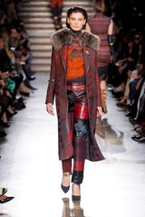 Missoni Fall 2012 Fur Collar Crosshatch Coat  - Lyst