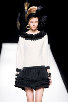Moschino Fall 2012 Mini Dress with Short Black Ruffled Skirt and White Long Sleeve Bodice  - Lyst