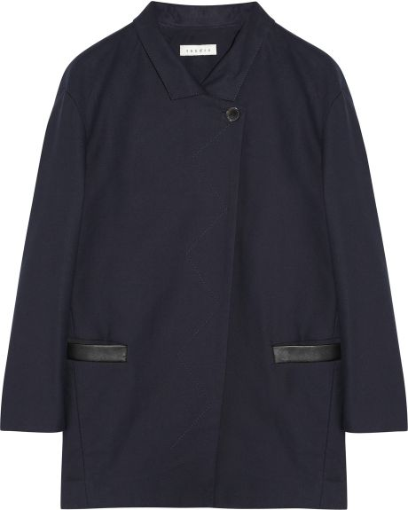 Sandro Leathertrimmed Cotton Coat in Blue (navy) - Lyst