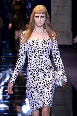 Versace Fall 2012 Long Sleeve Knee Length Pencil Dress With Crucifix Print And Deep Neckline In White And Black  - Lyst