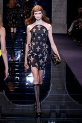 Versace Fall 2012 Strapless Armorlike Corset Mini Dress With Crucifix Prints In Black  in Black - Lyst