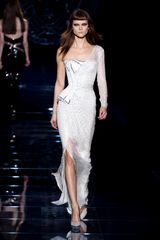 Versace Fall 2012 Asymmetrical Corset Gown With One Long Sleeve And Side Slit In White  in White - Lyst