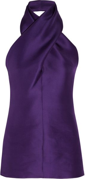 Saint Laurent Silkorganza Halterneck Top in Purple (poppy) - Lyst
