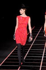 Giorgio Armani Fall 2012 Red & Orange Sleeveless Sequin Mini Dress With Black Hemline  - Lyst