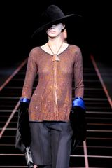 Giorgio Armani Fall 2012 Orange Sequin Top With Black Bell Sleeves & Blue Cuffs - Lyst