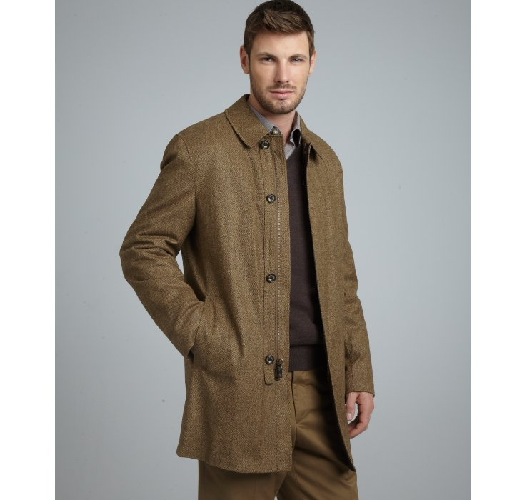 Mens Brown Wool Car Coat - JacketIn
