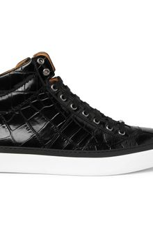 Jimmy Choo Belgravia Crocodile-embossed Leather High Top Sneakers - Lyst