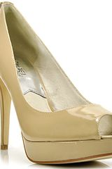 Michael by Michael Kors York Platform - Nude Patent Leather Peep Toe Pump - Lyst