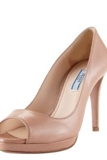 Prada Leather Peep-toe Platform Pump - Lyst