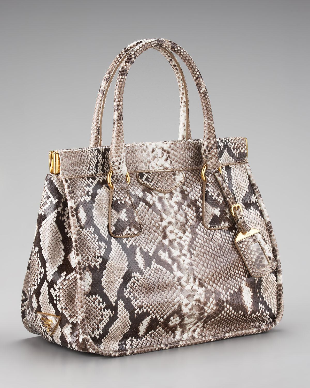 33e2169769bc Prada Python Frame Bag in Natural - Lyst