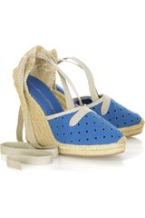 Stella McCartney Perforated Canvas Espadrille Wedges - Lyst