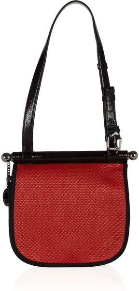 Stella McCartney Color-block Braided Raffia Shoulder Bag - Lyst