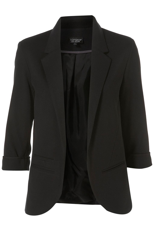 Topshop Ponte Boyfriend Blazer in Black | Lyst