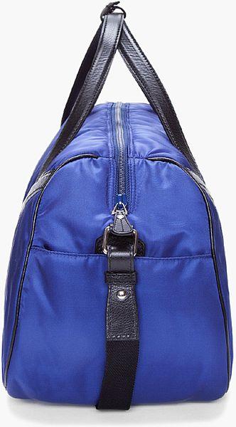 Saint Laurent Blue Leather Trimmed Duffle Bag in Blue for Men