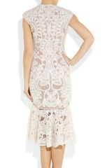 Alexander Mcqueen Crochetembroidered Silkorganza Dress in Pink (blush) - Lyst