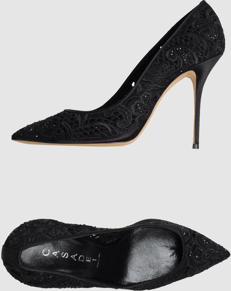 Casadei Closed Toe Slip Ons in Black - Lyst