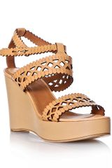 Chloé Laser-cut Leather Wedge Shoes - Lyst