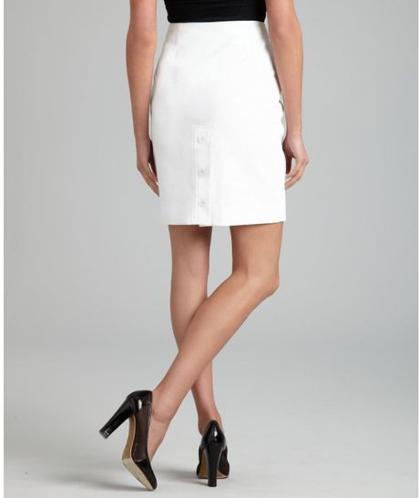 herm 232 s white cotton button detail pencil skirt in white lyst