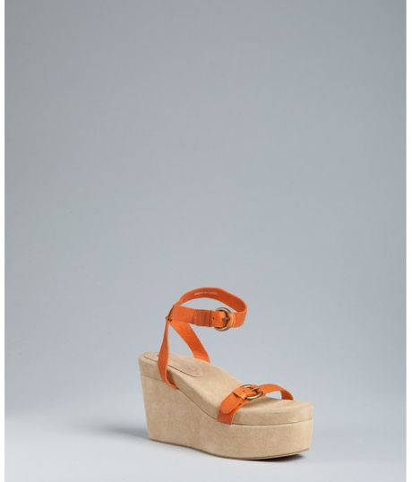 Jeffrey Campbell Suede Moochie Platform Sandals in Orange - Lyst