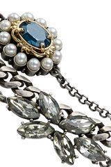 Mawi Multistrand Pearl And Sapphire Linked Bracelet in Gray (pearl) - Lyst
