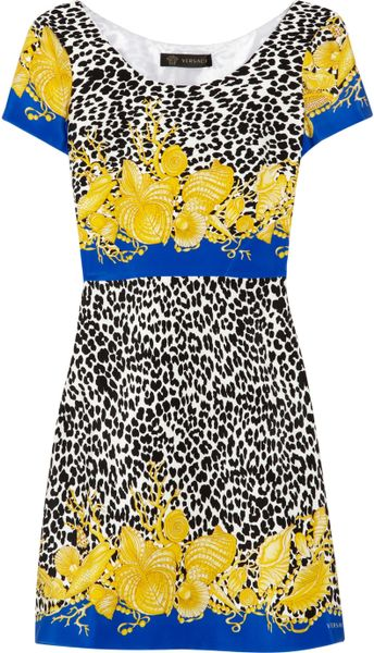 Versace Printed Silk-blend Crepe Dress in Multicolor (multicolored) - Lyst