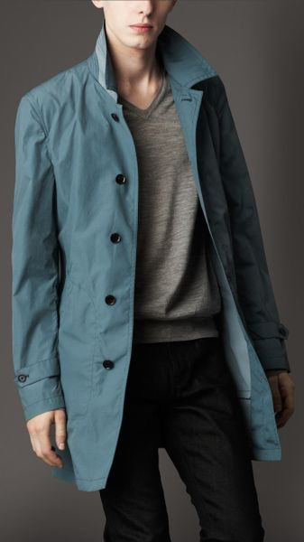 Burberry Mid-length Nylon Blend Contrast Undercollar Trench Coat in Blue for Men (stone blue) - Lyst