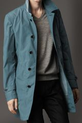Burberry Midlength Nylon Blend Contrast Undercollar Trench Coat in Blue for Men (stone blue) - Lyst