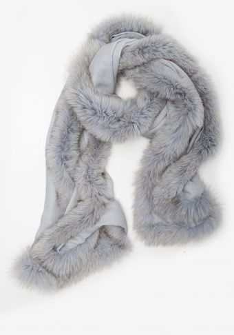 Hayley Menzies Chelsea Lightweight Cashmere and Fur Grey Scarf - Lyst