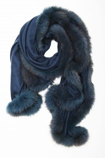 Hayley Menzies Chelsea Lightweight Cashmere and Fur Petrol Scarf - Lyst