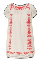 Hoss Intropia Nude and Coral Art Deco Embroidered Dress - Lyst