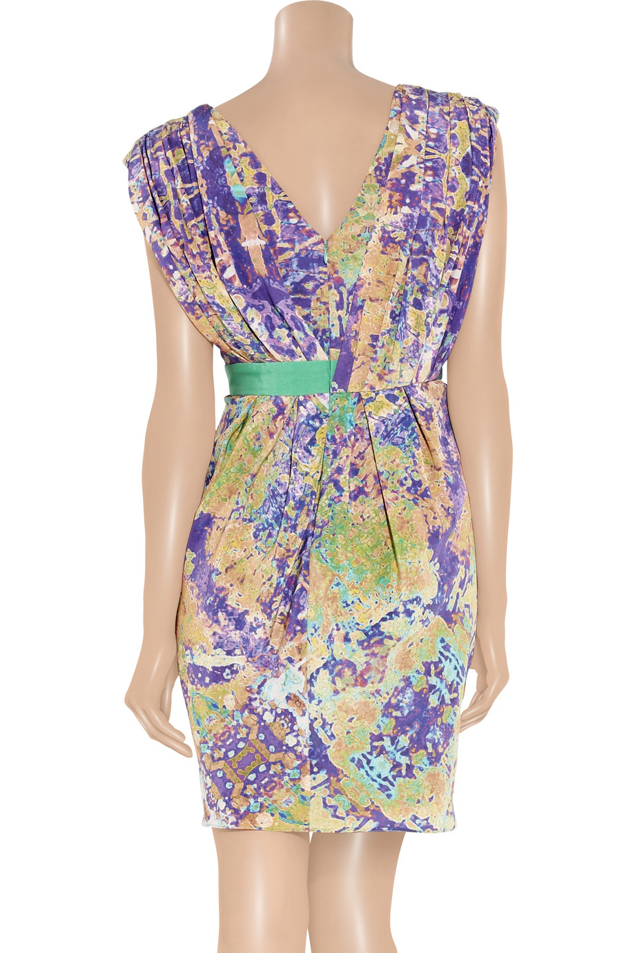 Lyst Tibi Printed Silk Wrap Effect Dress In Purple