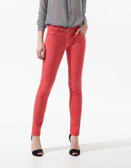 Zara Slim Pop Fabric Trousers in Red - Lyst