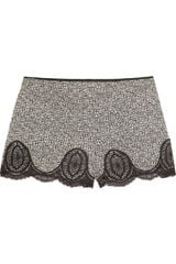 Anna Sui Floral-print Silk-crepe and Lace Shorts - Lyst