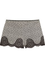 Anna Sui Floralprint Silkcrepe and Lace Shorts in Gray (floral) - Lyst
