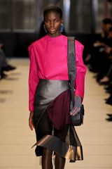Balenciaga Fall 2012 Pink Long Sleeve Blouse With Wide Shoulders - Lyst