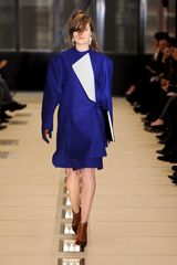 Balenciaga Fall 2012 A-Line Knee Length Front Fold Skirt In Electric Blue  - Lyst