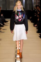 Balenciaga Fall 2012 Knee Length A-Line Front Fold Skirt With Side Pocket In White - Lyst