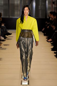 Balenciaga Fall 2012 Belted High Waisted Wide-Leg Parachute Pants With Pleated Front And Asymmetrical Closure In Silver  - Lyst