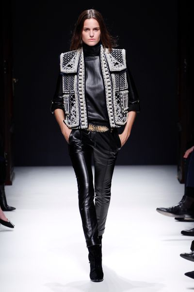 Balmain Fall 2012 Black Leather Skinny Cigarette Pants With Side Pockets  in Black - Lyst