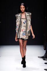 Balmain Fall 2012 Beaded And Embroidered Mini Dress With Florals  in Multicolor - Lyst