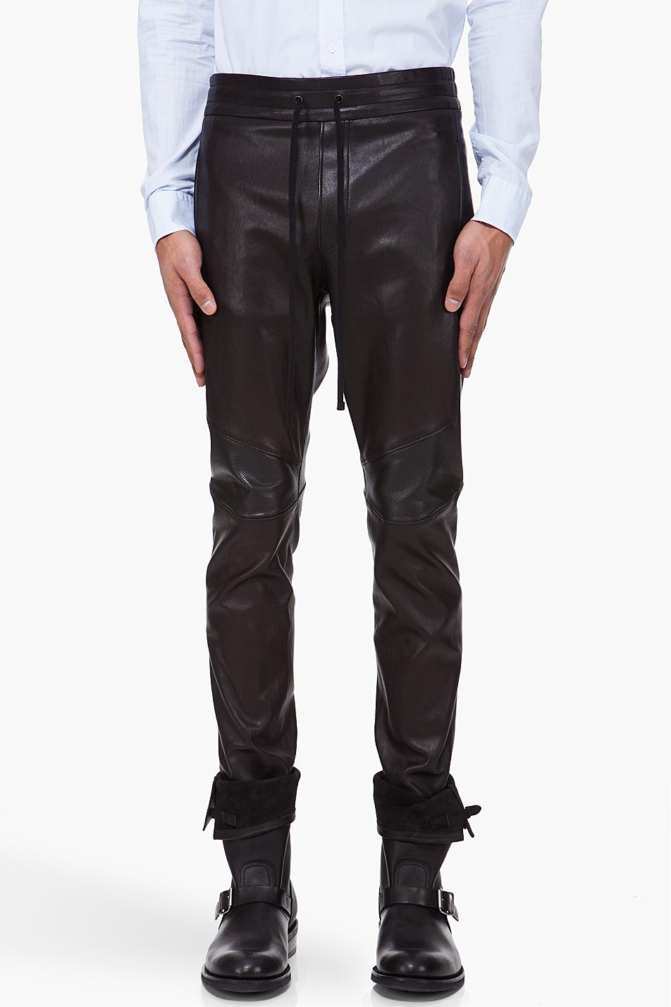 Balmain Black Leather Pants in Black for Men | Lyst